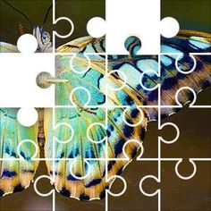 Butterfly Azure Jigsaw Puzzle, 67 Piece Classic. Colorful butterfly wing in green blue color
