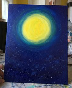 Nights sky acrylic painting - super moon with stars - 11x14 inch flat canvas by JustJezzie on Etsy