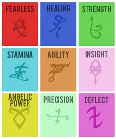 The Mortal Instruments runes (obviously not real runes)