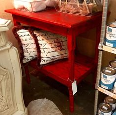 Turn of the Century Two Tier Table Painted in Farmhouse Paints   Oh So Red with Cracklize and Glaze  $475  Fabulous Furniture with Farmhouse Paints  Farmhouse Paint exceeds any paint on the ma