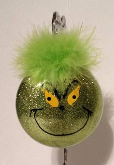 DIY Grinch Ornement- glitter filled and face drawn on! Grinch Christmas, Christmas Ornaments To Make, Christmas Wishes, Homemade Christmas, Christmas Projects, Holiday Crafts, Christmas Holidays, Christmas Bulbs, Christmas Movies