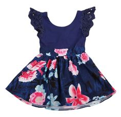 Blue Lace With Floral Toddler Girl Dress