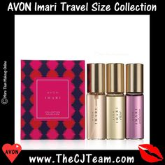 Imari Travel Size Collection #Avon The ultimate purse-perfect scent. A limited edition trio of Imari purse size sprays in a decorative box perfect for holiday gift giving. Gift Set Includes: .5 oz spray of Imari EDT, Imari Elixir EDT & Imari Seduction EDT. A $36 Value. Shop online with FREE shipping with any $40 online Avon purchase. #Imari #Sale #CJTeam #C23 #ImariElixir #ImariSeduction #PurseSize #Holiday #GiftSet #Perfume #Fragrance Shop Avon Fragrance online @ www.TheCJTeam.com