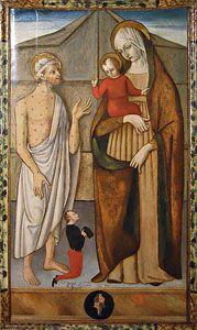 Master of Collamato, Madonna a dítě s St. Job, který má dárce, Bracciano, Odescalchi hradu