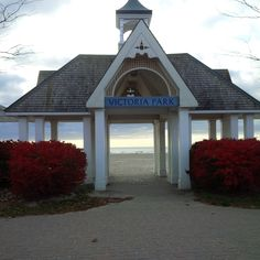 A view to Lake Ontario at the Boardwalk in Cobourg. on the way back from the ice cream shop! My Town, Ontario, Gazebo, Ice Cream, Canada, Community, Outdoor Structures, Vacation, Country