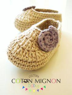 Zapatitos crochet bebe recien nacido cultura coton mignon