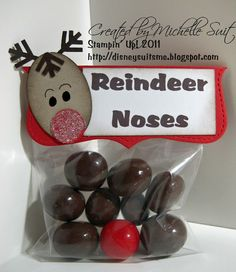 """Reindeer Noses. The brown """"noses"""" are large, malted milk balls and Rudolph's nose is a red gumball."""