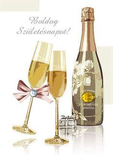 Birthday Celebration, Birthday Wishes, Happy Birthday, Cute Alphabet, Name Day, Champagne Bottles, Alcoholic Drinks, Birthdays, Creative