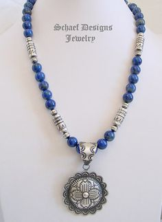 Schaef Designs deep blue lapis & Southwestern Silver Tube Bead necklace with Vince Platero Zia Pendant