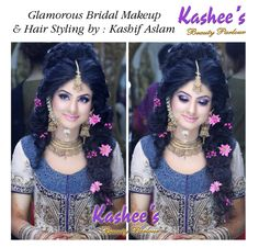 Soft and glamorous bridal makeup and hair styling by kashif aslam