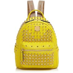 Mcm Stark Special Mini Backpack ($2,200) ❤ liked on Polyvore featuring bags, backpacks, empire yellow, mcm backpack, mcm bags, yellow bag, sparkle backpack and hardware bag