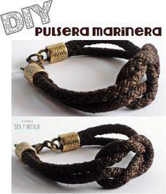 Las Creaciones de Bea y Natalia: DIY: Pulsera marinera http://lascreacionesdebeaynatalia.blogspot.com/2013/04/diy-pulsera-marinera.html
