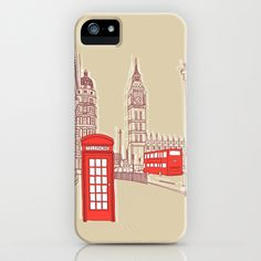 City Life // London Red Telephone Box iPhone Case by BLUEBUTTON STUDIO - $35.00