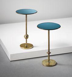 Osvaldo Borsani, Glass and Brass 'T1' Side Tables, c1950.