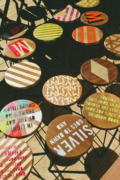 paper social: MOVEMENT POP-UP CAFE - great idea to update some old and tired cafe tables..
