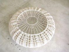 Large pumpkin shade by Moonbasket Diy Crochet And Knitting, Love Crochet, Beautiful Crochet, Lampshade Chandelier, Lampshades, Crochet Furniture, Crochet Lampshade, Macrame Supplies, Crochet Pumpkin