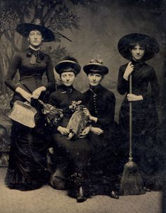 Since the first woman holds a dustpan and brush it seems likely that the fourth woman is holding a broom for cleaning purposes. But, if so, WTF is going on with the dead bird?! It is all very confusing. (To say nothing of the fact that if these girls could step out of this tintype would look perfectly at home at a goth bar. In fact they would knock the torn fishnets off some of the competition.)