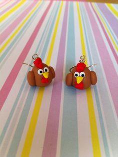 Handmade Novelty Polymer Clay Chicken Earrings £4.00
