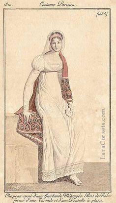 white regency dress, 1810, French