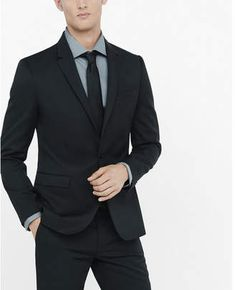 Express extra slim black wool blend twill suit jacket