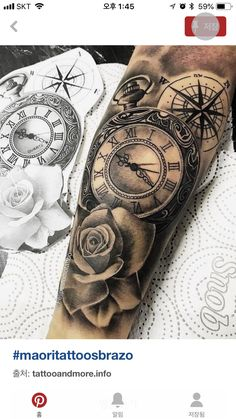outside detail of the watch Watch Tattoos, Time Tattoos, Body Art Tattoos, Forearm Flower Tattoo, Forearm Tattoo Men, Arm Sleeve Tattoos, Sleeve Tattoos For Women, Trendy Tattoos, Tattoos For Guys