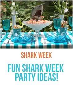 Turquoise + Shark Dinner Party It's SHARK WEEK! So, we thought it fitting to share this humorous outdoor dinner party! Shark Week Drinks, Shark Party Foods, Shark Week Crafts, Outdoor Dinner Parties, Food Themes, Food Ideas, Hai, The Ordinary, Pizza