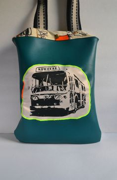 Turquoise Vegan Leather Tote Bag - Bus to NOWHERE - Screen Printed