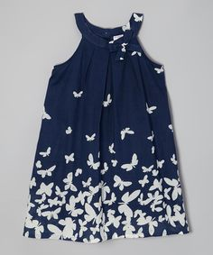 Look at this Navy & White Butterfly Yoke Dress - Toddler & Girls on #zulily today!
