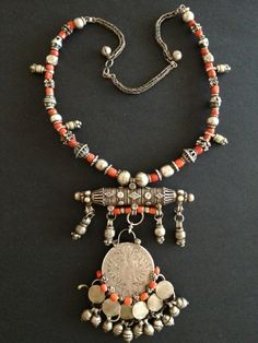 Silver and red coral Yemeni necklace
