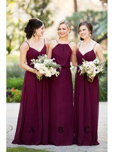 Long Purple Spaghetti Straps Chiffon Floor Length Wedding Party Bridesmaid Dresses 3302001