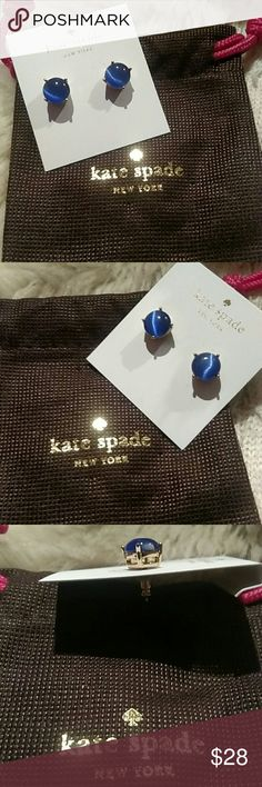 """Kate Spade New York Blue Gumdrop Studs Inspired By A Sweet Tooth And All Things That Sparkle. Crafted Of Dazzling Stones In Confectionery Colors And Placing It In A 14k Gold Plated Setting. They Make A Super Sweet Finishing Touch. Size Is 4"""" X 4.5"""" X 0.5"""". 5/8"""". Comes In A Kate Spade Pouch With Tags. Fast Shipping! kate spade Jewelry Earrings"""