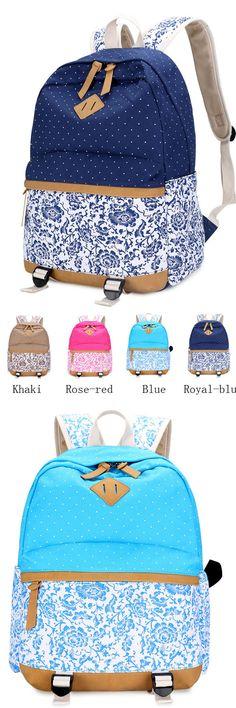Vintage Fresh Floral Polka Dot Canvas Travel Backpack Leisure Backpack from www.lilyby.com #vintage #backpack #fresh #Floral #Polka #Dot #Canvas #Travel  #bag #college #school #blue #rucksack