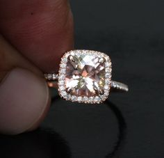 14k Rose Gold 8mm Morganite Cushion and Diamonds Single Halo Ring (Choose color and size options at checkout)