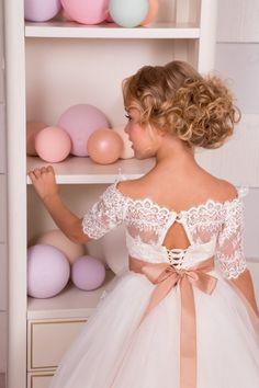 Ivory de encaje flor chica vestido de cumpleaños boda fiesta