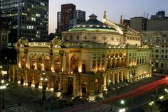 São Paulo's Opera House, Teatro Municipal, is beautifully lighted at night. São…