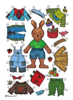 Karen`s Paper Dolls: Mads 1-2 Paper Doll in Colours. Mads 1-2 påklædningsdukke i farver.
