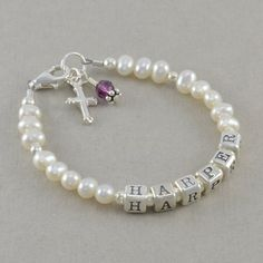 Classic White Pearl Baby Bracelet by SixSistersBeadworks on Etsy