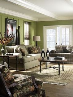 Green and Brown Living Room Decor I WILL have one green wall