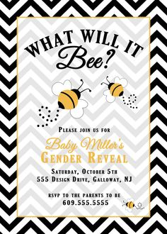 "Bee Gender Reveal Party Invitation by StudioRingo on Etsy, $15.00 ""bee"""