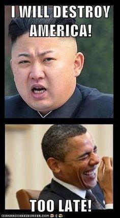 funny!Obama! Kim Jung Un: I will Destroy America - Your Too Late Kim - ALIPAC