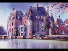 Solitude ( Francis Lai ) Watercolor Mixing, French Chateau, Beautiful Places In The World, Russian Art, Solitude, Beautiful Paintings, Art And Architecture, Decoration, Flower Art