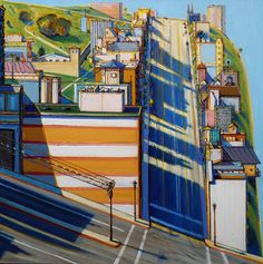 Bright, thick, and severe, Wayne Thiebaud's landscapes veer far from his well-known paintings of common objects and sweets. These works feature steep inclines and long shadows, providing a dramatic new perspective to seemingly banal landscapes and cityscapes. Thiebaud was born in Mesa, Arizona in 1920 and during his early career spent time in the animation -