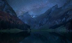 Majestic, moonlit mountains.  Beautiful photo of the alps!