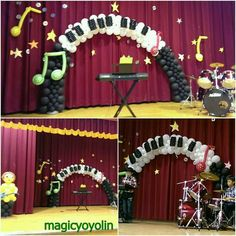 Musical Balloon Arrangements, Balloon Centerpieces, Balloon Decorations, Music Themed Parties, Music Party, Balloon Backdrop, Balloon Columns, Columns Decor, Show Da Luna