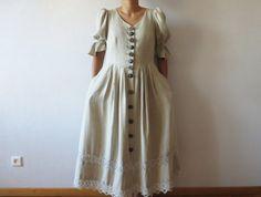 Linen Dirndl Dress Alpen Style Austrian от VintageDreamBox на Etsy