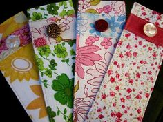 Bookmarks made with scraps of fabric and buttons.