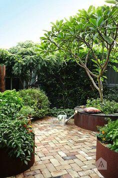 Backyard Garden Landscape, Garden Landscape Design, Garden Spaces, Backyard Landscaping, Garden Oasis, Garden Fun, Terrace Garden, Urban Garden Design, Tropical Garden Design