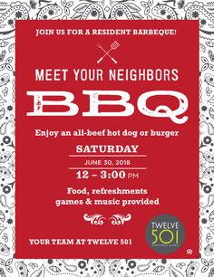 Enjoy some BBQ and meet your neighbors! We'll have food, refreshments, games, and music. We hope you can make it! Beef Hot Dogs, Your Neighbors, Meet You, Bbq, Homes, Learning, Music, How To Make, Food
