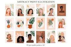 Abstract Woman Illustrations Prints by Julia Art Shop on Woman Illustration, Plant Illustration, Portrait Illustration, Graphic Illustration, Beige Color Palette, Journal Stickers, Stationery Set, Social Media Graphics, Minimalist Art