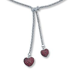 Lab-Created Ruby Heart Necklace with Diamonds Sterling Silver